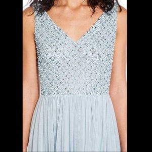 Adrianna Papell Pearl Beaded Aqua Blue Gown